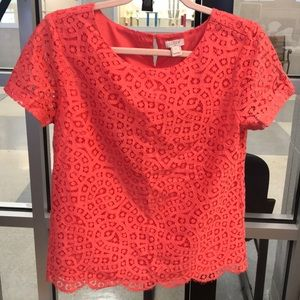 J Crew Lace Overlay Top